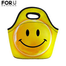 FORUDESIGNS Smiley Expression Print Lunch Bag for Kids Emoji Smile Portable Food Women Girls Thermal Insullate Tote Lunchbag