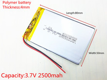 3.7V 2500mAh Lithium Polymer LiPo Rechargeable Battery cells power For PAD GPS PSP Vedio Game E-Book Tablet PC Power Bank 405080