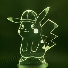 3d Led Night Light Lamp Game Pokemon Go Pikachu with Cap Figure 7 Colors Changing Touch Sensor Usb or Battery Nightlight Lamp 3d цена
