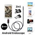 8mm 2.0MP 2em1 Android USB Endoscópio Camera 2 M 5 M USB OTG HD720P Endoscópio Snake Inspeção Tubo Camera 6LED IP68 À Prova D' Água