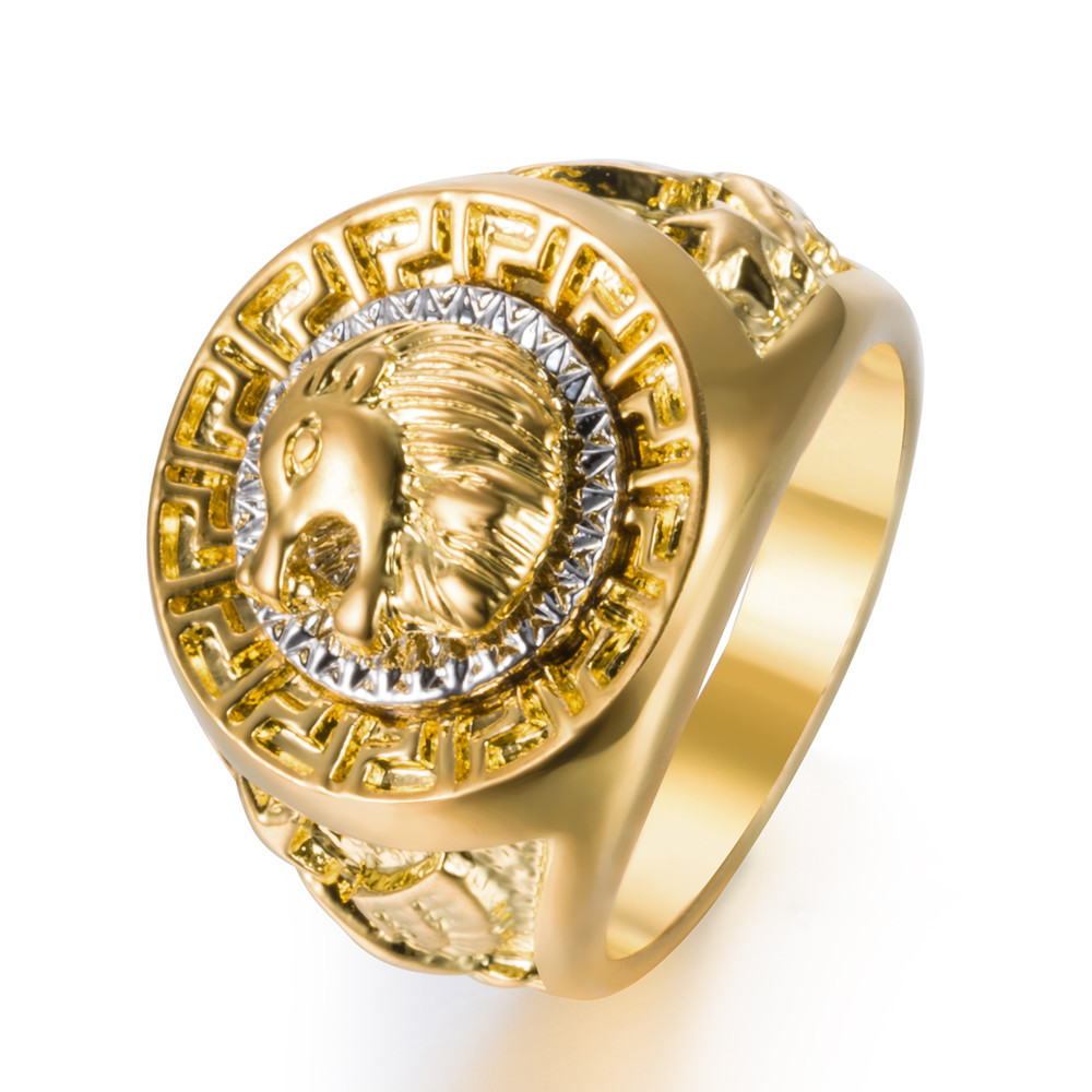 ... Fashion Hip Hop Gold Color Finger Ring Men s Punk Style Ring Band Cool  Lion Head Ring Male Jewelry  8-13 7dbbe6cbd244