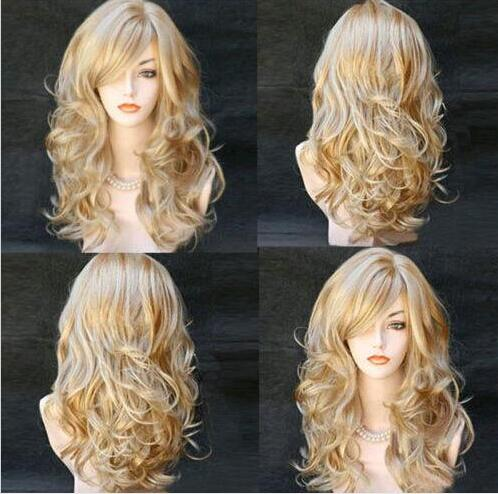 LY&CS Cheap sale dancing party cosplays>>>Sexy Women Long Wavy Synthetic Heat Resistant Cosplay Hair Full Wig Mix Blonde long wavy oblique bang synthetic cosplay wig