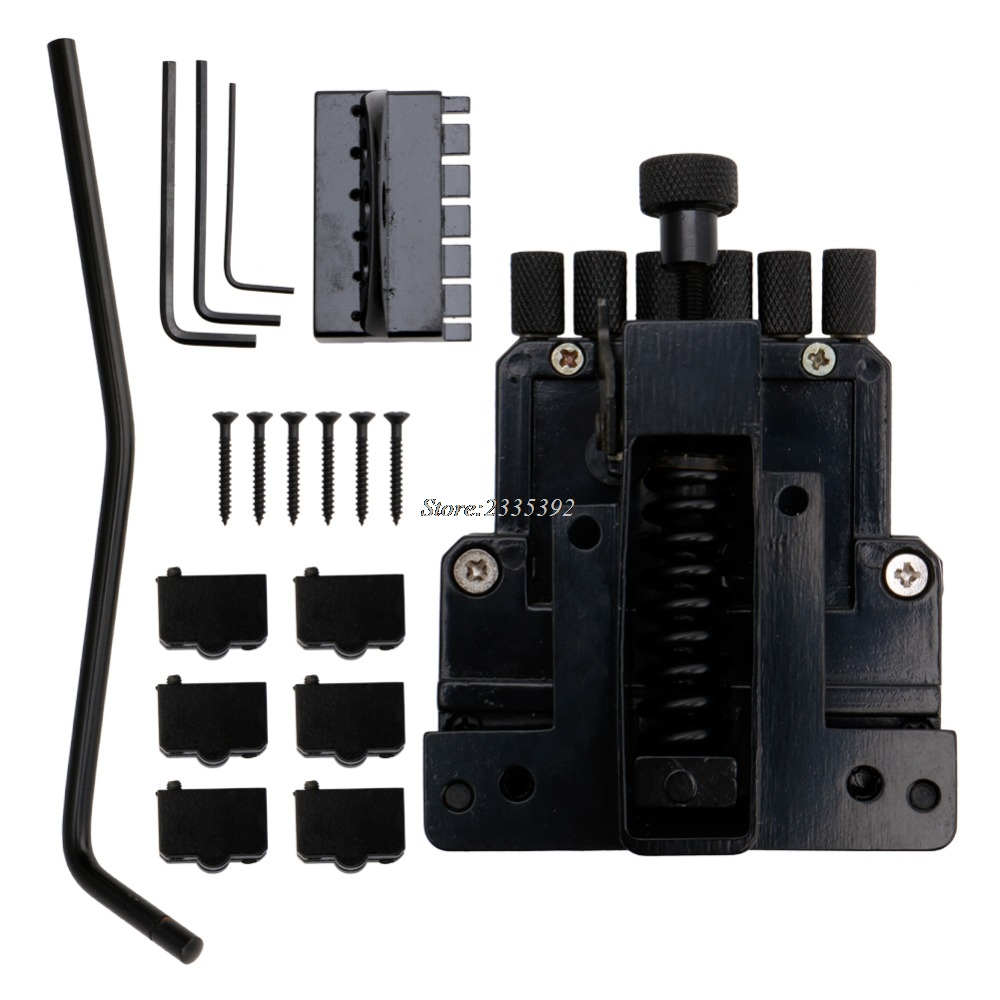 6 String Saddle Guitar Tailpiece Tremolo Bridge For Headless Guitar Replacement yibuy 5x dobro 6 string tailpiece for echo guitar repair replacement black