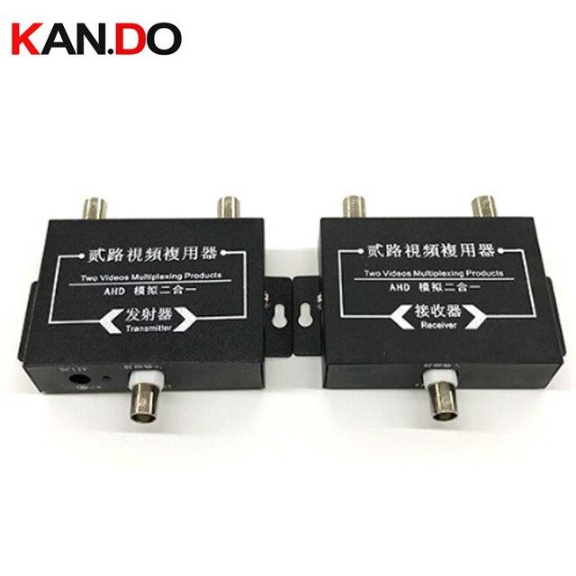 AHD Cctv 카메라 2ch 동축 케이블 비디오 신호 멀티플렉서 Adder 비디오 컨버터 전송 내성 신호 전송