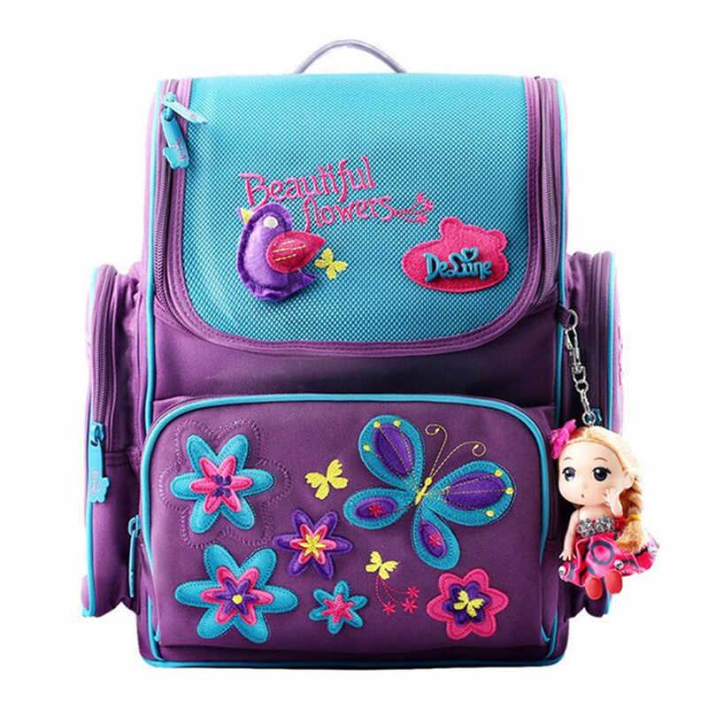 AEQUEEN Rosa Das Meninas Sacos de Escola Dos Desenhos Animados Mochila Boneca Bonito Seguro Ortopédicos Mochilas Escolares Para Crianças Dos Miúdos Da Princesa Mochila