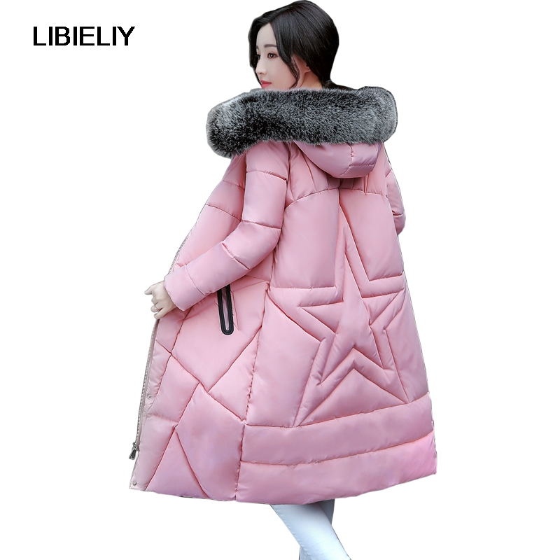 Nice Fashion Women Winter Long Hooded   Basic     Jacket   Female Big Fur Collar Thicken Warm Coat Ladies Outerwear Chaqueta Feminino