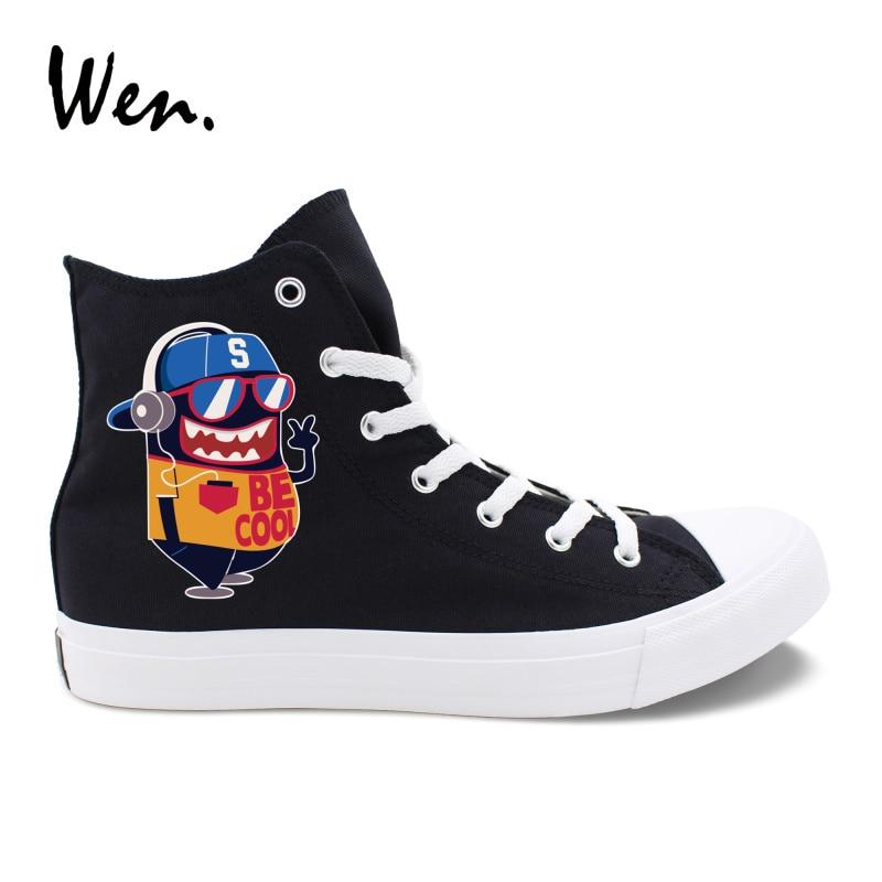 Wen unisexe vulcaniser chaussures dessin animé petit monstre Design Original noir Plimsolls mocassins à talons bas plat blanc toile baskets