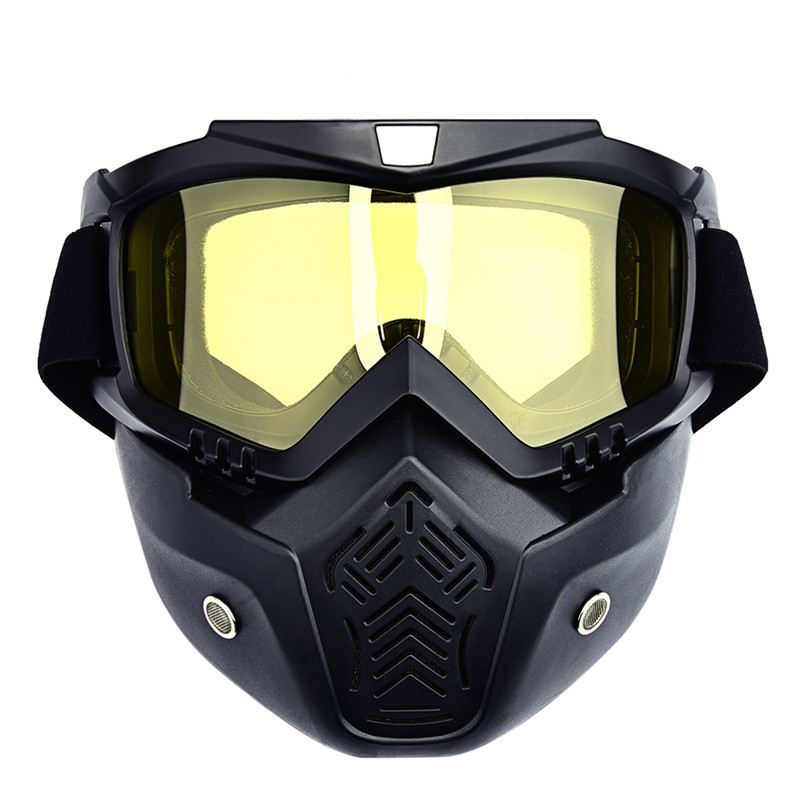 Vintage Ski Snowboard Goggles Motorcycle Mask Detachable Goggles with Mouth Filter Men Windproof Skiing Glasses Protective Gear