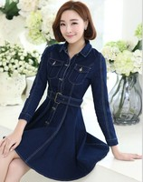 2019 Woman Spring Denim Dress Long Sleeve workwear Blue Casual Vestido Jeans Female Cowboys Dresses Jeans Dress
