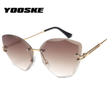YOOSKE 2020 Rimless Sunglasses Women Fashion Lady Cat Eye Su
