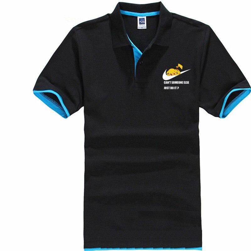 2019 two-tone men's short-sleeved cotton lapels Just Pikachu Do It   Polo   shirt   POLO   OFF TOMMIS SUPREM WHITE STONE LAND