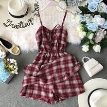 NiceMix Summer Bohemian Beach Mini Shorts Women Casual Bandage Backless Plaid Print Sleeveless Shirt Short rompers Female(China)