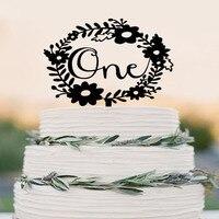 Один день рождения торт Топпер, Baby Shower торт Топпер, первый день рождения украшения, венок торт Топпер