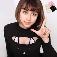 Kawaii Cat Ears Hollow Out Chest Women Sexy Sweaters Harajuku Lolita Pullovers Turtleneck Collar Knit Sweaters