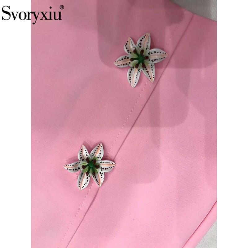 Svoryxiu Runway lelie Bloem Serie Roze A lijn Mini Rok vrouwen luxe Custom Zijde Print Voering Custom Double Breasted Rok-in Rokken van Dames Kleding op  Groep 3
