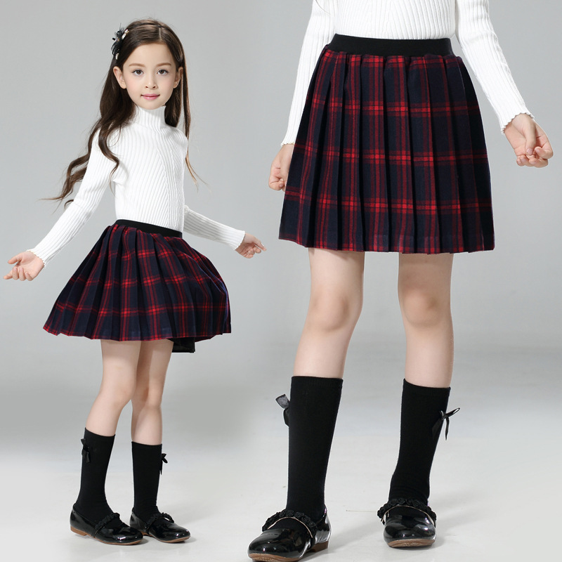 2016 Autumn Winter Children s Clothing Kids Red Plaid Skirts Big Girl England Style School Uniform