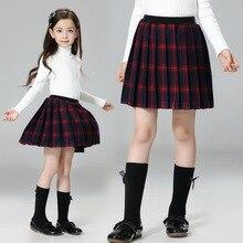 2016 Automne Hiver Enfants Vêtements Enfants Rouge de Plaid Jupes Grande Fille Angleterre Style Uniforme Scolaire Taille Haute Plissée Jupe