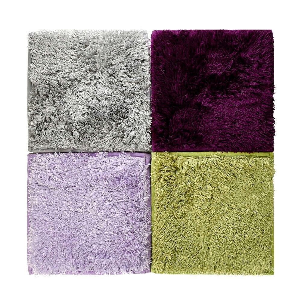 Absorbent Soft Fiber Non-slip Bedroom Floor Mat Square Kids Baby Play Carpet Shaggy Velvet Solid Doormat Floor Rug