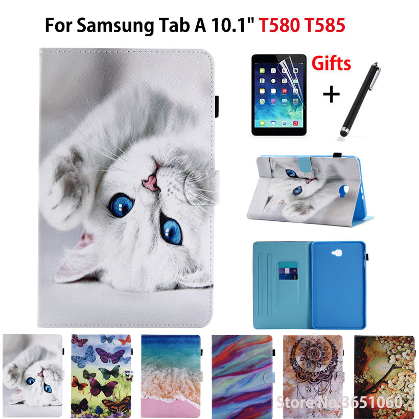 SM-T585N Tablet Case For Samsung Galaxy Tab A A6 10.1 2016 SM-T580 T585 T585N Smart Cover Funda Cartoon Cat Shell+Film+Pen magnetic wood pattern stand smart pu leather cover for samsung galaxy tab a a6 t580 t585 10 1 tablet funda case free film pen