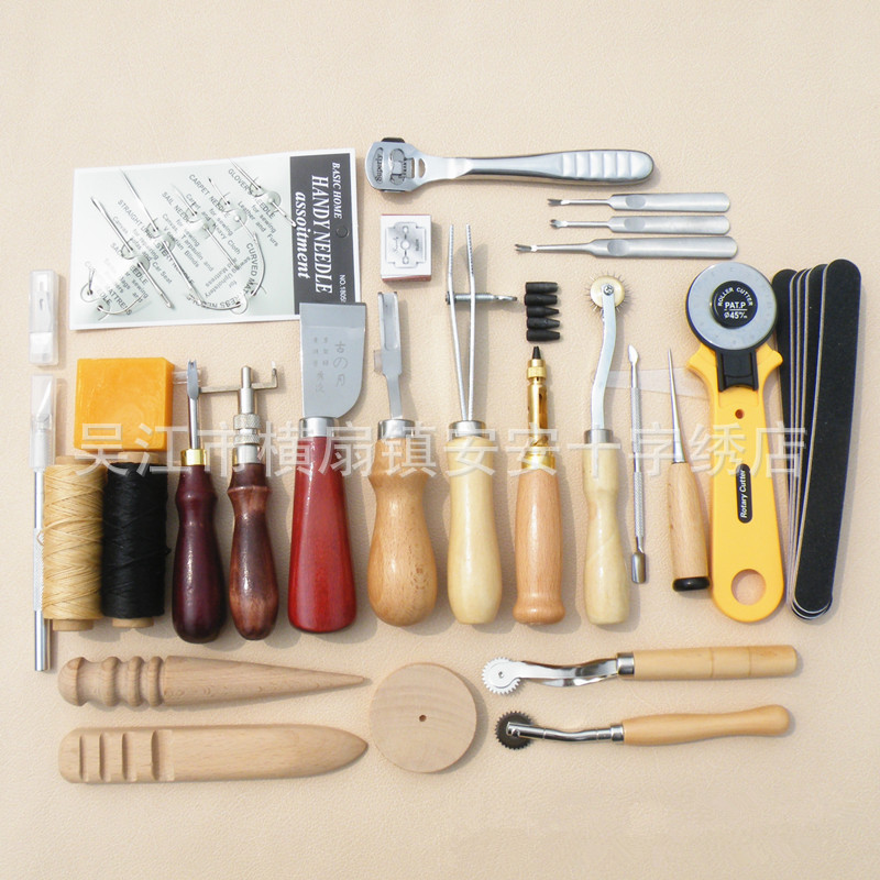 Stitching Denim Carving  Punch Work Kit Hand Sewing Sets Leather Craft Tools