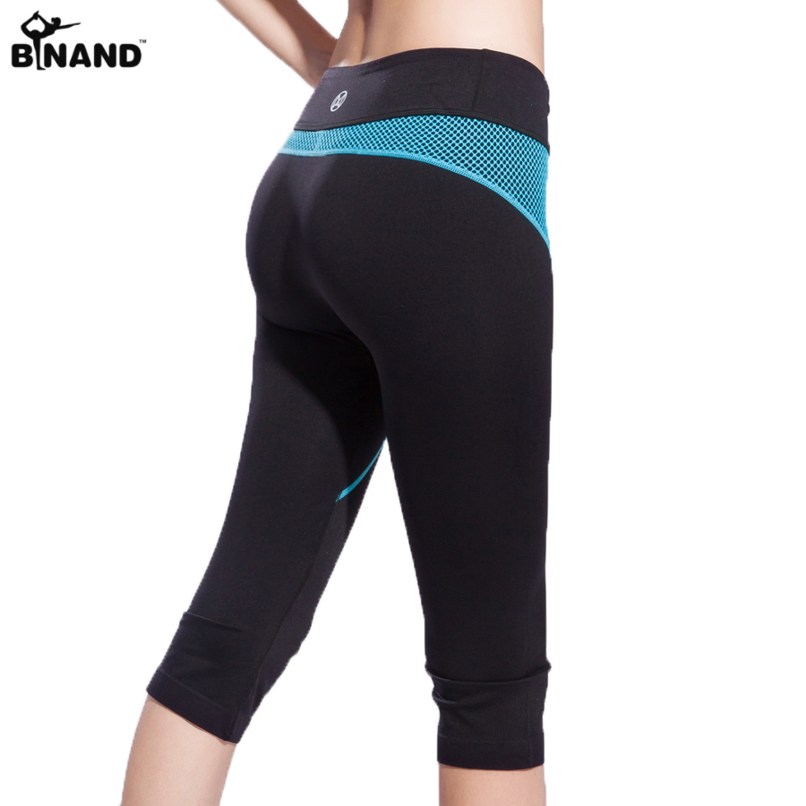 Binand New Arrival Capris Yoga Pants Quick Dry and Breathable Breeches Knee-length Sports Shorts w/ Mesh