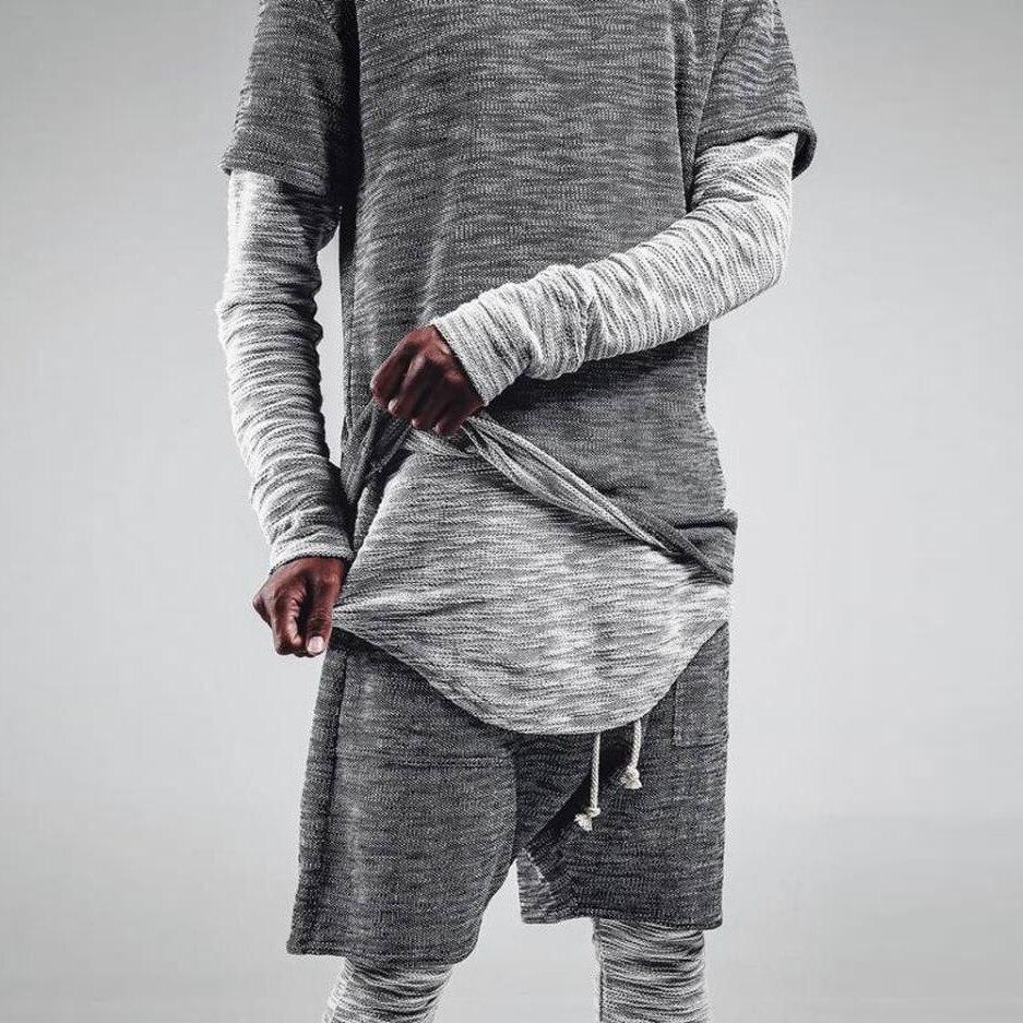 Modern Style Men's Fashion Sets Street Dress New Male Suits Long Sleeve T-Shirt +Shorts Teenage Personality Sportswear