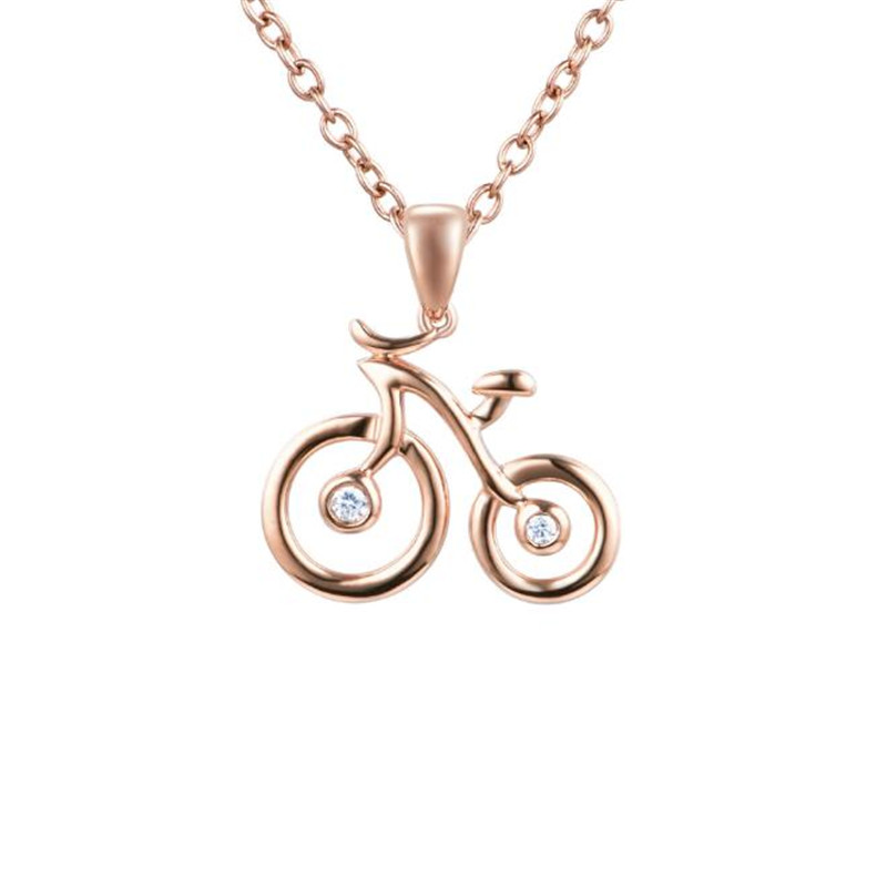Fashion 18K Gold Bicycle Charms Pendant Collar Korean Style Bike Necklace Pendant DIY Jewelry Gift AU750 wholesale fashion 18k gold 12 constellation necklace pendant jewelry zodiac virgo sign charm pendant collar for birthday gift