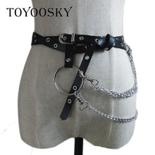 2019 New Arrival Gothic Punk Belt for Women Waist Belts PU Circle Chain Link Metal Strap with Big Ring  TOYOOSKY