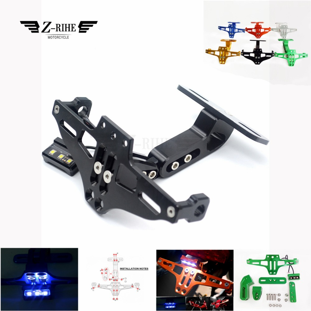 Universal Alloy Motorcycle Rear License Plate Bracket with lights For HONDA CBR650F CB650F CBF1000 VF750S SABRE VFR750 VFR800 F
