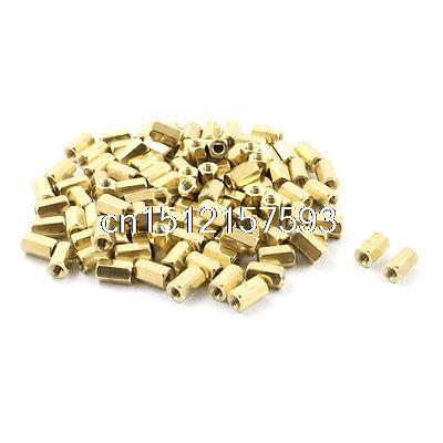 100Pcs M3 x 8mm Female Thread Gold Tone PCB Hexagonal Nut Standoff Spacer 50pcs lot 3296w 1 502lf 3296w 502 5k ohm top regulation multiturn trimmer potentiometer high precision variable resistor