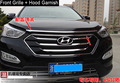 Chrome Hood Garnish + Front Grille Around Trim For 2013 2014 Hyundai Santa Fe IX45 high quality chrome stickers trim car styling