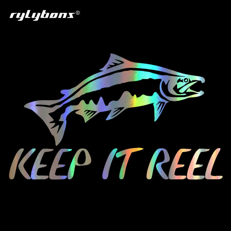 Rylybonns DIY Funny 16cm*9.4cm Keep It Rell Fishing Car Sticker Decal Reflective Window Vinyl Sticker Decoration Accessories