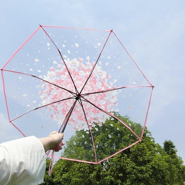 Новая мода прозрачный зонтик с рисунком сакуры дождь женщин Романтический складной Классический Cherry Зонтик Ясно цветок зонтик