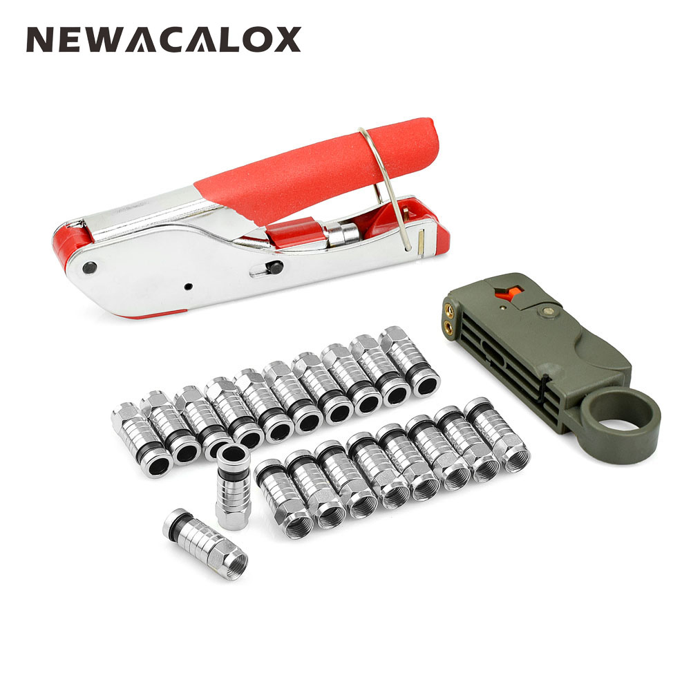 NEWACALOX Multifuntion Crimping Pliers Wire Stripping Coaxial Cable Cold Press Clamp Cable TV Crimping Tool Set with 20 F Head cable type flexible wire long reach hose clip pliers hose clamp pliers for auto vehicle car repairs tools