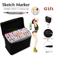 TOUCHFIVE 30 40 60 80 168 Alcohol Based Marker Sketch Double Head Art Sketch Marker Student