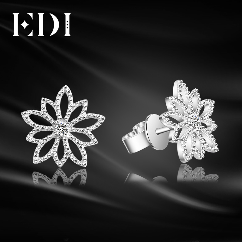 EDI Genuine Natural 0.06cttw Diamond Real 18k White Gold Stud Earrings For Women Wedding Fine Jewelry starry pattern gold plated alloy rhinestone stud earrings for women pink pair
