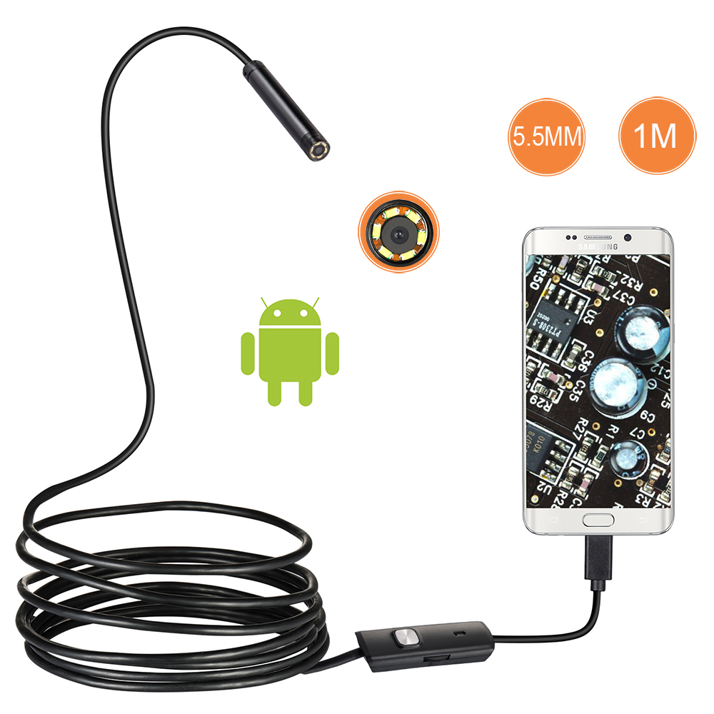 1m/2m/1.5m Waterproof Endoscope Mini HD Camera Snake Tube 5.5 Mm Lens USB Inspection LED Borescopefor Android Phone PC