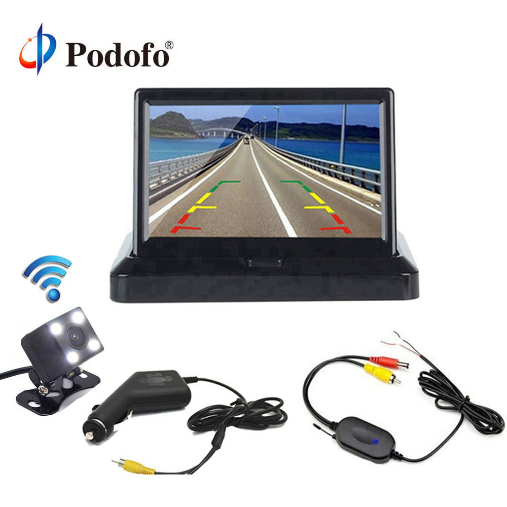 Podofo 4.3'' Wireless Car Rear View System Foldable LCD Car Reverse Rearview Monitor + Car Backup HD Reverse Rear View Cameras 3in1 diy for hyundai i25 i35 i45 wireless wifi bluetooth backup rear view reverse rearview camera camara & screen monitor