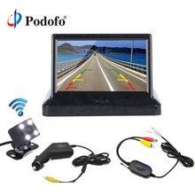 Podofo 4,3 »Беспроводная система заднего вида автомобиля Складная ЖК-камера заднего вида автомобиля заднего вида монитор + Автомобильная резервная HD камера заднего вида