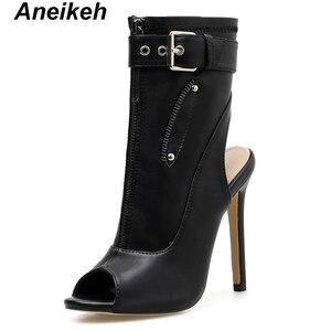 Image 4 - Aneikeh klasyczne PU kobiety botki pasek z klamrą Peep Toe drążą buty na cienkich wysokich obcasach buty kobieta seksowne sandały buty biały czarny