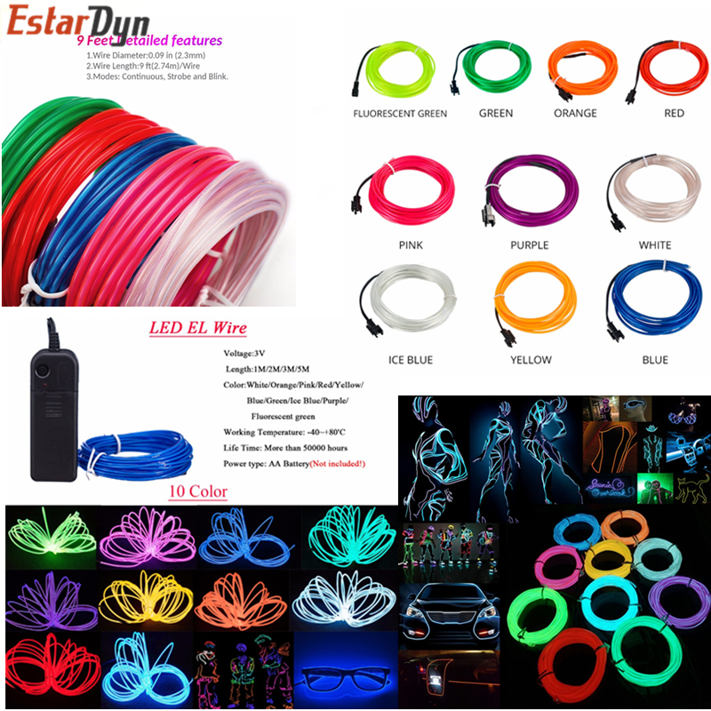 1m/2m3m/5M 3V Flexible Neon Light Glow EL Wire Rope Tape Cable Strip LED Neon Lights Shoes Clothing Car Waterproof Led Strip New