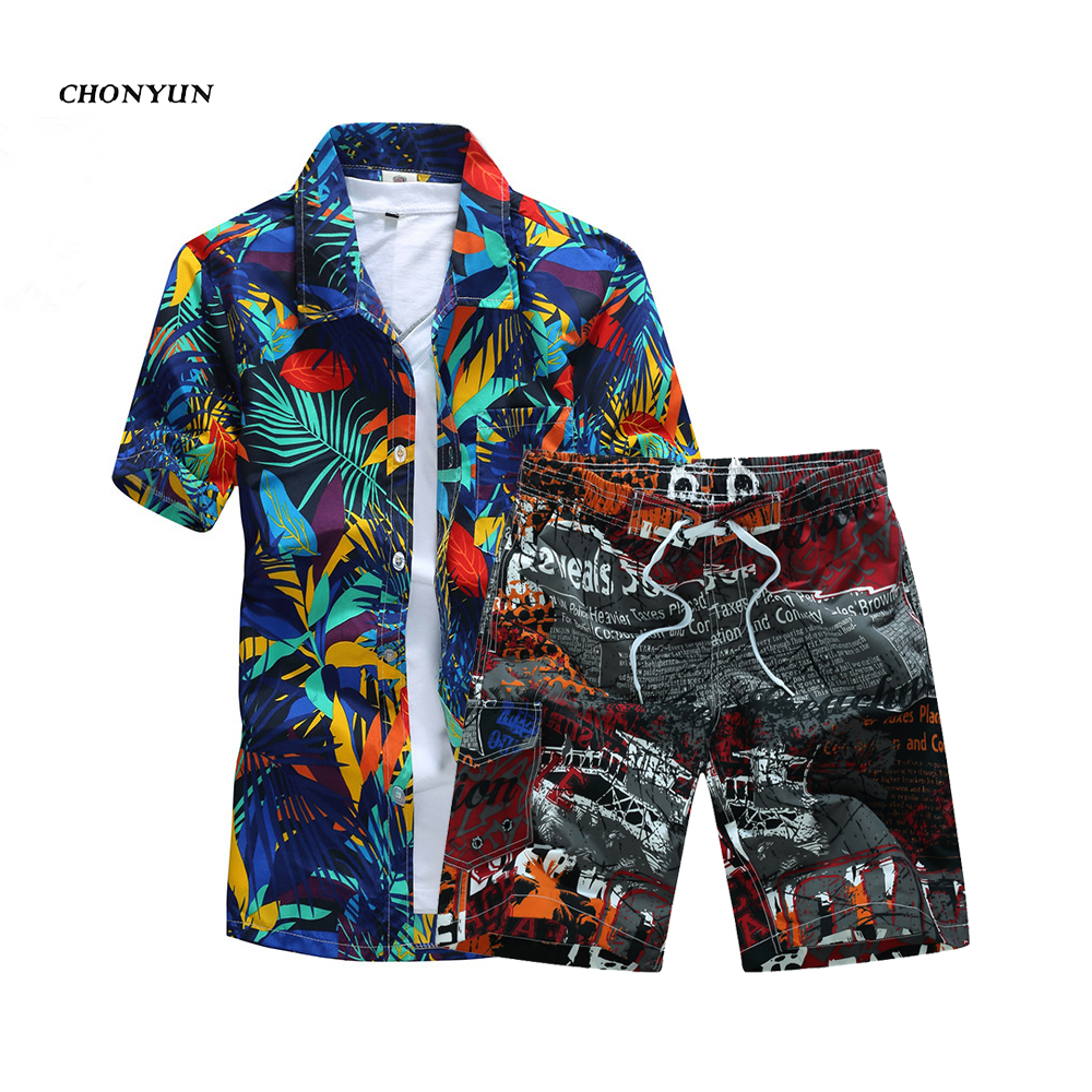 Summer New Men Causal Beach Suits Short Sleeve Shorts 2PCS Sweatsuit+Pants Quick-dry Tracksuit Mens Sportsuits Shirt+Shorts 6XL