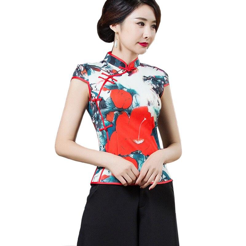 Printed Flower Chinese Vintage Female Shirt Summer New Handmade Button Lady Rayon Blouse Elegant Mandarin Collar Tops S 4XL