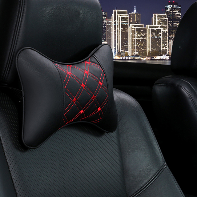 Car Neck Pillows Pu Leather head support protector black red universal headrest backrest cushion easy install