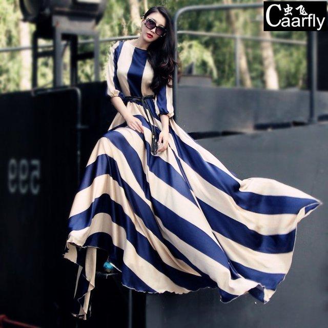 Luxury 2014 Big Bottom Type Slim Chiffon Plus Size Long Striped Full