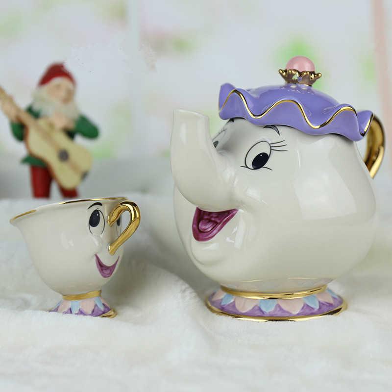 [1 POT + 2 XÍCARAS] Jogo de Chá dos desenhos animados Beauty And The Beast Taza Bela E Uma Fera Mrs Potts Chip de Bule Copo Set Adorável Criativo Presente Bonito