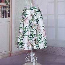 Spring Summer 3 Color Women s Skirt Knee length Floral Printed Elastic high Waist Tutu Ladies