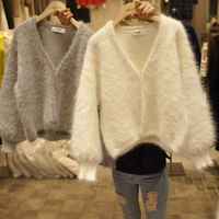 DERUILADYKorean Chic Female Sweaters Warm Autumn Winter Clothes Fashion V Neck Faux Cashmere Cardigan Knitted Coat Women Sweater