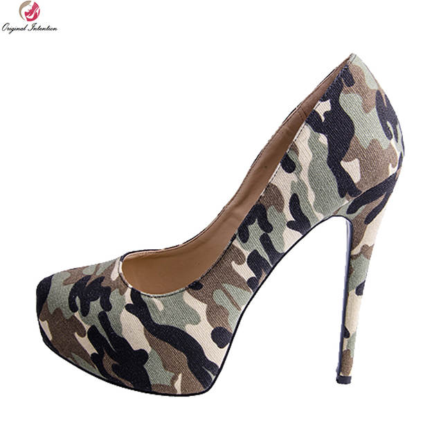 Heels Us Stylish Thin 4 Pumps High Camouflage Size Shoes Woman Toe Original 15 Women Platform Intention New Round Plus Y76vbfgy