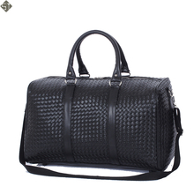 Fashion PU Leather Men Travel Bag Versatile Women Travel Bag Waterproof Black Cool Zipped Shoulder Bags Handbag luggage